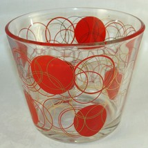 Vintage Mid Century Ice Bucket Retro Dots and Bubbles Glass Barware Sign... - $35.63