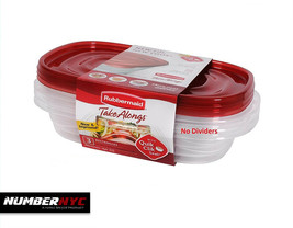 3x Rubbermaid TakeAlongs Rectangle Food Storage Containers Lids Quik Clik Seal - $16.82