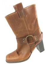 SH20 Michael Kors Sz 6M $395 Wesbury Brown Leather Harness Boot Block Heel Italy - $34.64