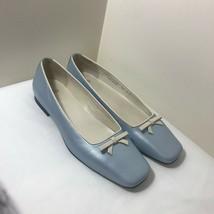 Coach Womens Flat blue Wedding Shoes. Bettine J750 Sz 7B bow square Toe - $54.40