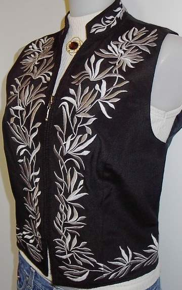 Charcoal Grey Embroidery Horse Show Hobby Halter Vest S