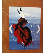 Oglala Souix Artist Two Eagles Original Print She Shares His Robe - $10.99