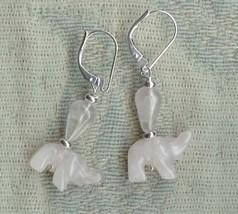 Gwynstone animal earrings pink elephant rose quartz - $14.60
