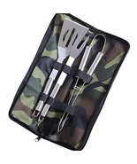 4 Pcs BBQ Tools Set Stainless Steel Pro Kitchen... - £32.85 GBP
