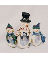 "Snowman Trio Picture Folding Frame 5"" Winter Connoisseurs Possibilities Resin  - $18.99"