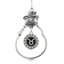 Inspired Silver Taurus Zodiac Circle Snowman Holiday Christmas Tree Ornament Wit - $14.69