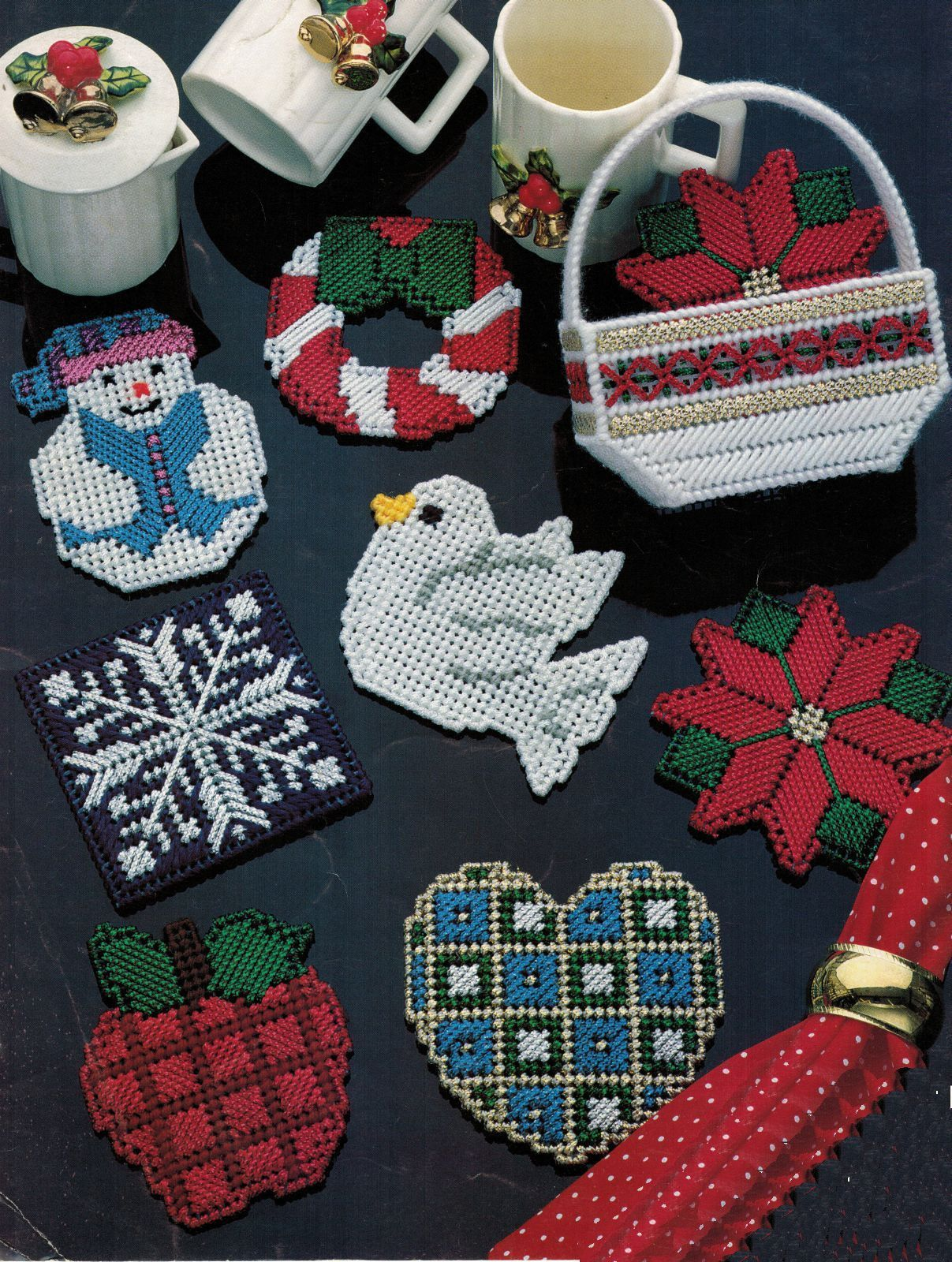Primary image for Plastic Canvas Xmas Coaster Holder Gingerbread Bell Angel Poinsettia Pattern