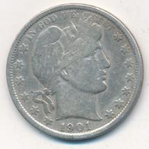 1901 BARBER SILVER HALF DOLLAR-A NICE CIRCULATED BARBER HALF-SHIPS FREE!... - $38.95