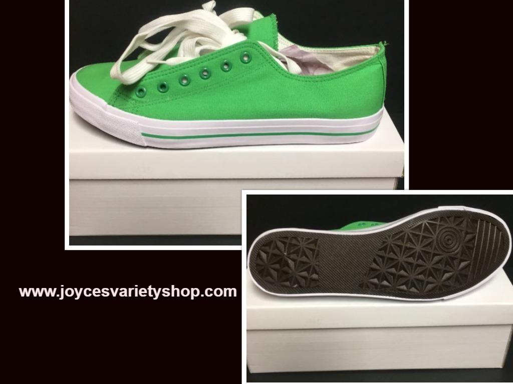 Custom School Kicks Canvas Tennis Shoes Unisex 10/11.5 Lime Green NIB