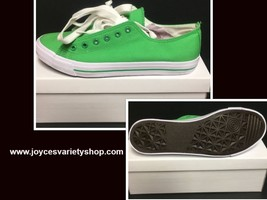 Custom School Kicks Canvas Tennis Shoes Unisex 10/11.5 Lime Green NIB image 1