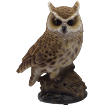 Eagle Owl Perching on Branch with Singing Bird Sound Collectible Figurine - $39.59