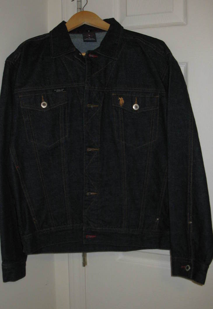 Men Jacket Jean Polo Large 100% Cotton