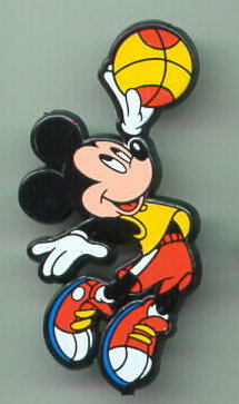 Disney Mickey Mouse basketball Rare English Pin/Pins