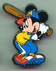 Disney Mickey Mouse baseball Rare English Pin/Pins