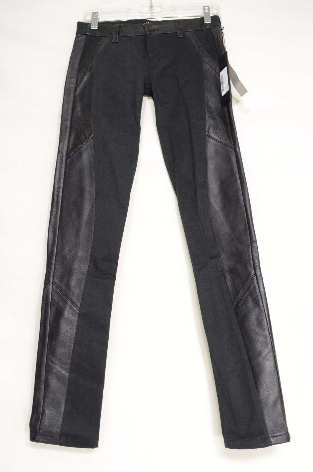Primary image for SOLD Design Lab jeans leather trim NWT 25 x 30 USA legging Soho skinny black W30