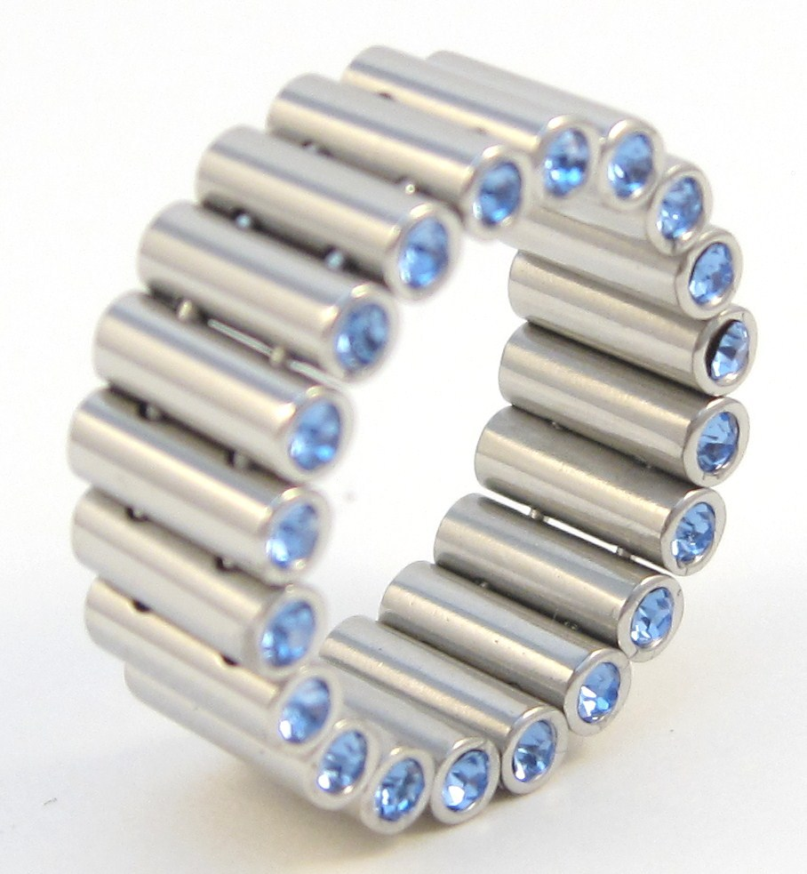 SSR4916 Unique Blue CZ Tube Link Stainless Steel Ring