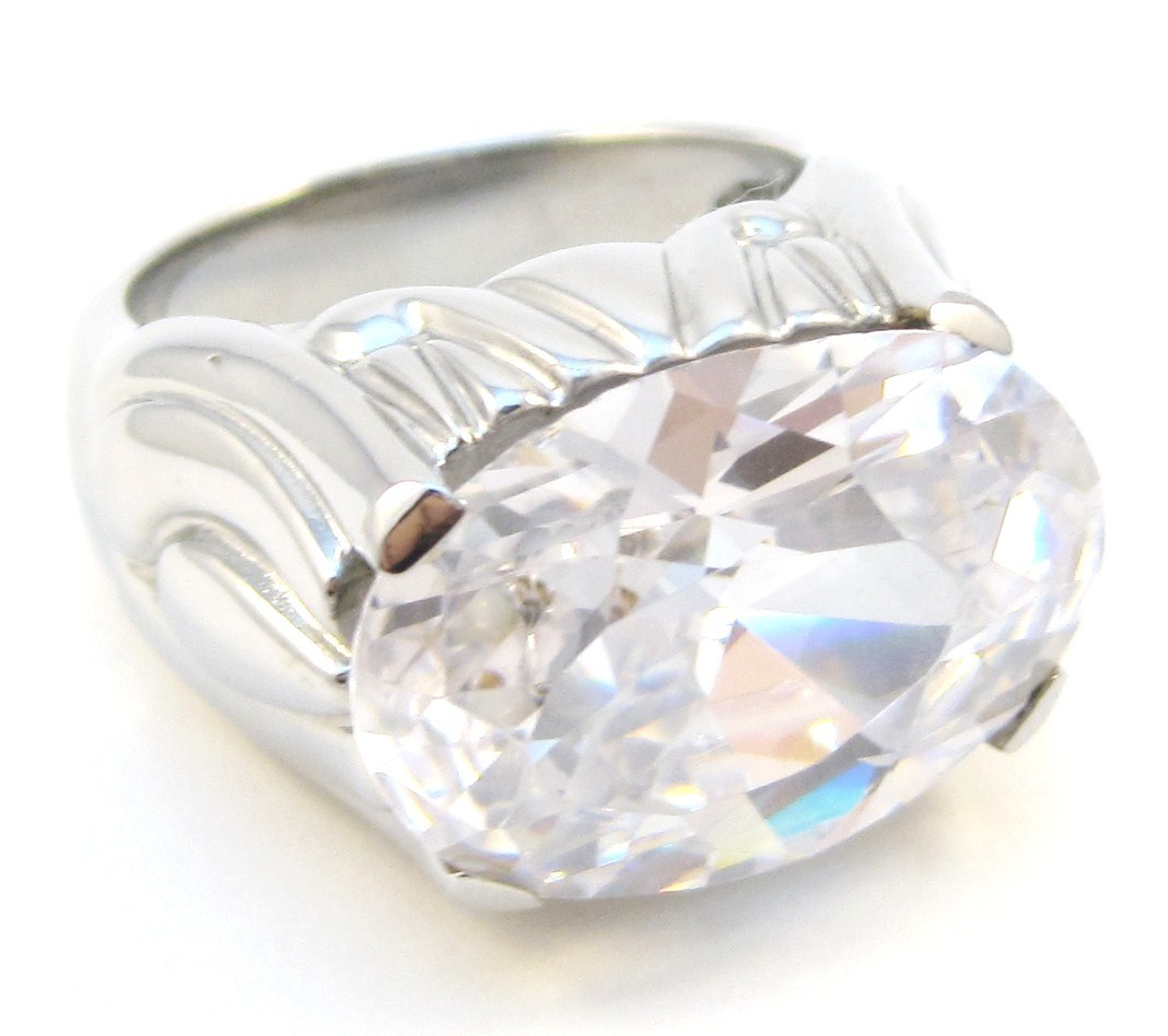 SSR4611 Sparkling CZ High Polish Chunky Stainless Steel Ring