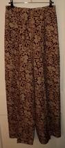 ANN TAYLOR Ornate Wine/Beige/Gold Wide Leg Pleated Silk Dress Pants (10) - $39.10