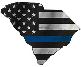 Thin Blue Line Police State of  South Carolina Laser CutOut Metal Sign 1... - $25.74