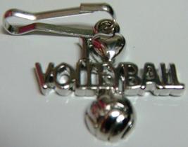 Silver I Love Volleyball Ball Zipper Pull - 4pc/pack - $12.99