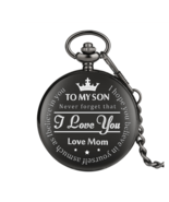 Black 'TO MY SON' Quartz Pocket Watch Men Casual Carving Word Men FOB Chain - $13.50+