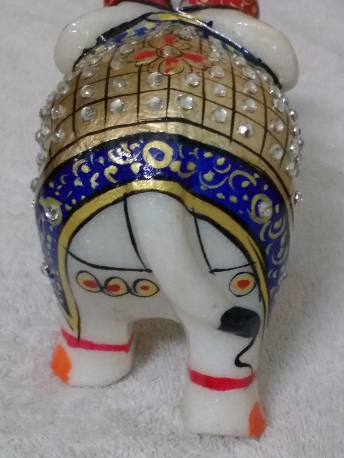 Elephant statue Figurine Minakari Art Home Decor Gift Antique white Marble