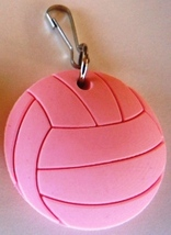 3D Rubber Volleyball Ball Zipper Pull Pink - 4pc/pack - $12.99