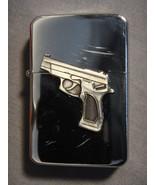 SILVER COLORED COLT 45 / GUN LOGO REFILLABLE OIL CIGARETTE LIGHTER NEW - $5.74