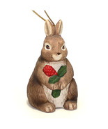 Christmas Traditions Bunny Rabbit with Holly Vintage Porcelain Figurine ... - $1.85