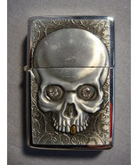 SILVER COLORED RAISED SKULL WITH GOLD COLORED TOOTH LOGO TORCH LIGHTER NEW - $4.86