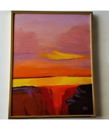 Canyon Sunset Original Acrylic canvas Board with Gold Metal frame Signed - $47.00