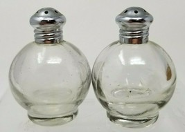 Vintage Mid Century Glass Globe Salt and Pepper Shakers Chrome Top - $9.85
