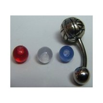 Silver Volleyball Belly Button Ring w/ Colored Balls - 2pc/pack - $15.99