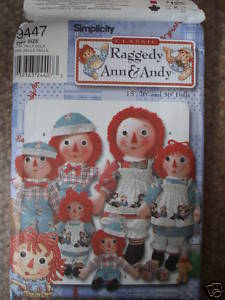 Simplicity 9447 RAGGEDY ANN ANDY Dolls Clothes 15 26 36""
