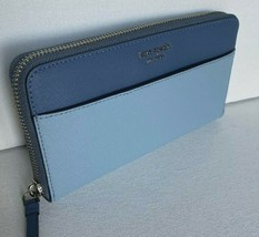 New Kate Spade Cameron Large Continental wallet Leather Blue Dawn - $79.00