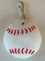 3D Rubber Softball Zipper Pull White - 4pc/pack - $12.99