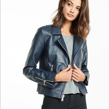 Express (Minus The) Leather Navy Blue Moto Jacket Coat M    - $88.20
