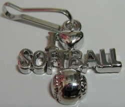 I Love Softball Zipper Pull - 4pc/pack - $12.99