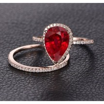 14K Rose Gold Fn Pear Garnet & Simulated Diamond Wedding Bridal Ring Set  - $85.00