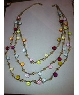 Gold Tone Triple Chain Necklace with Multi-Colored Dangling Beads - $26.99