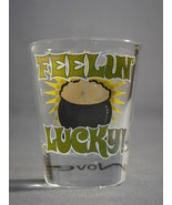 ST PATRICKS DAY IRISH THEME FEELIN' LUCKY! 2oz SHOT GLASS NEW - $3.85 CAD