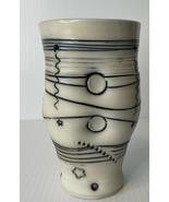 Mint Bob and Cheryl Husby Pottery Glass Goblet black white freeform abst... - $49.45