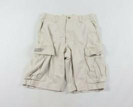 Vintage 90s Ralph Lauren Größe W32 Spell Out Surplus Cargo Shorts Hellbraun - $39.51