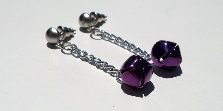 Christmas Purple and Silver Jingle Bell Earrings Christmas Hand Made In USA