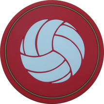 "4"" Volleyball Thick Rubber Coaster 4pc/pack - Red - $15.99"