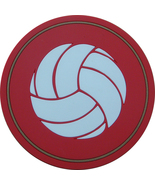 """4"""" Volleyball Thick Rubber Coaster 4pc/pack - Red - $15.99"""