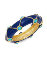 Kenneth Jay Lane Couture Collection Dark Blue Marine Hinged Bangle Brace... - $143.55