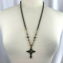 """1928 Long Antiqued Style Brass Green Rhinestone Cross Pendant Necklace NWT 28"""" - $25.21"""