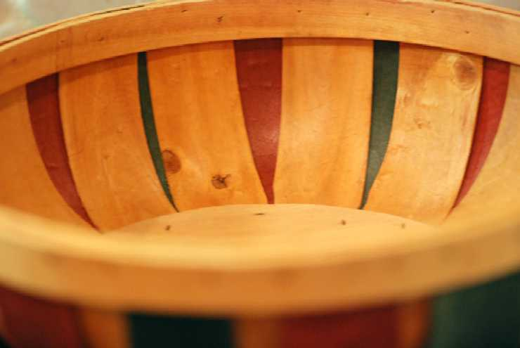 Wood Basket - Natural, Red & Green