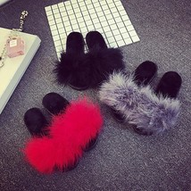 Newest Women's Fur Fluffy Slides Marabou Mules Sandals Sliders Home Slippers